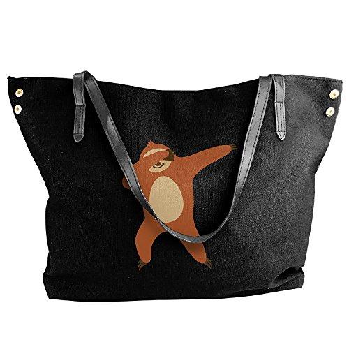 Bag Dabbing Canvas Women's Hand Handbag Tote Black Sloth Large Shoulder 6CUSf