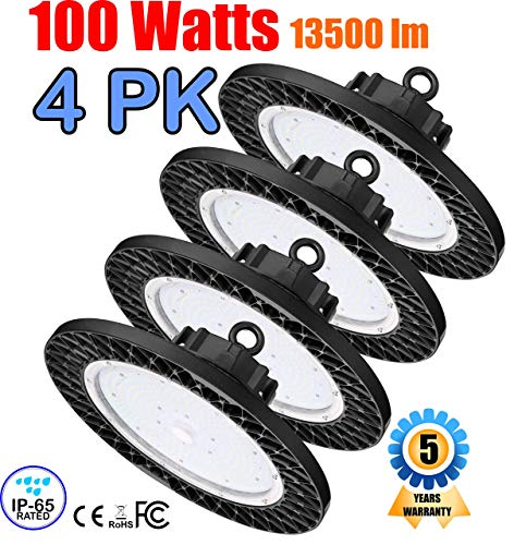 (GENPAR 100W 4PK UFO LED High Bay Light 400W HPS/MH Equivalent 13500LM lumens Daylight White 6000-6500K IP65 Waterproof Warehouse Lighting Fixture Commercial Lighting Factory Shop Industrial Garage )
