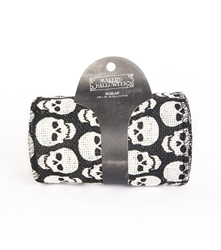 Maker's Halloween Burlap Ribbon 5''x 20'-White Skull Print on Black for $<!--$19.99-->
