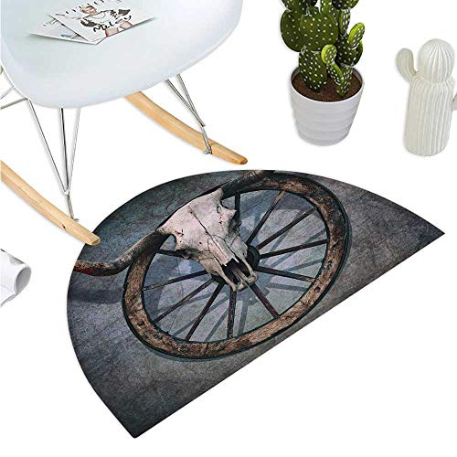 Barn Wood Wagon Wheel Half Round Door mats Wild West Themed Design with Bull Skull on Cart Wheel Scratched Wall Bathroom Mat H 15.7