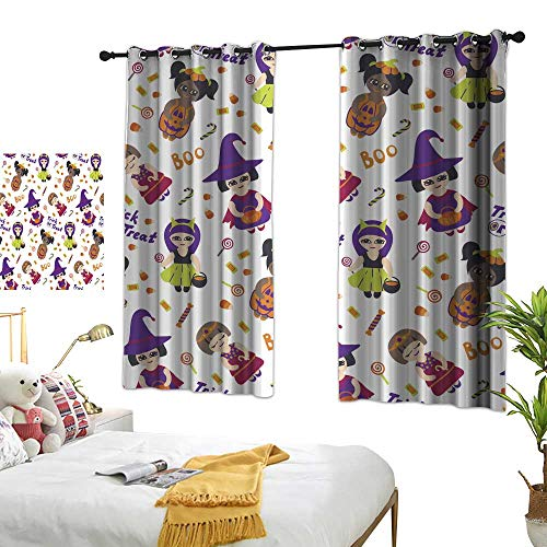 Cloth Curtain Halloween Vector Seamless Pattern with Kids in Costumes Room Decoration Ideas W62.9 xL72