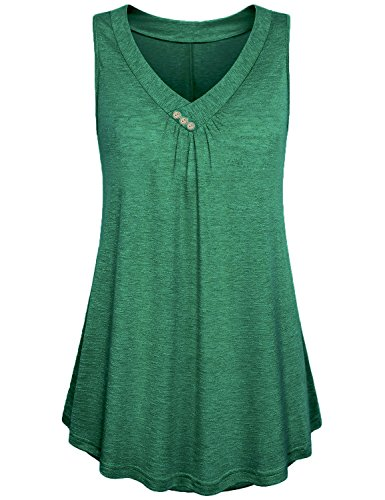 KABUEE Women's Casual Button Decor Flowy Tank Tops Basic Sleeveless V Neck Tunic Top Blouse (M, ()