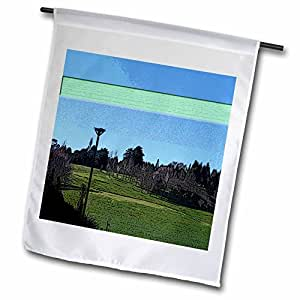 Jos Fauxtographee Realistic - The Hamilton Gardens in New Zealand Beveled and Given a Light Green Stripe - 18 x 27 inch Garden Flag (fl_48354_2)