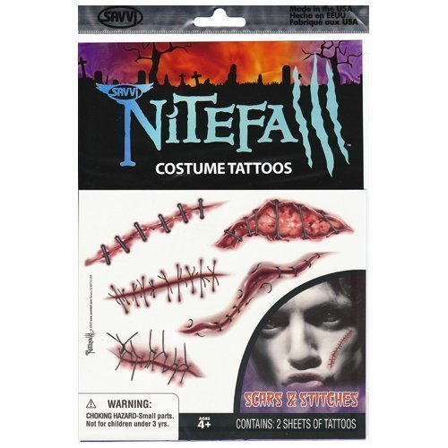 Scars and Stitches Nitefall Costume Tattoos by Savvi