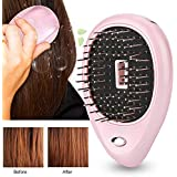 Electric Ionic Hairbrush Mini Anti-Static Scalp Head Massage Comb for Hair Care Hair Growth(Pink)