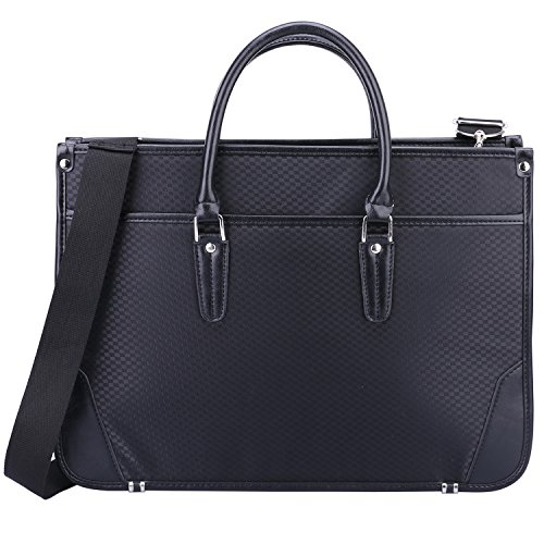 Ronts Black Nylon Briefcase for Men Business 14 Inch Laptop Shoulder Messenger Bag Attache Case Tote Handbag ()