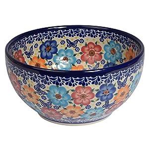 Traditional Polish Pottery, Handcrafted Ceramic Salad Bowl (1500ml), d.19cm, Boleslawiec Style Pattern, M.704.Meadow
