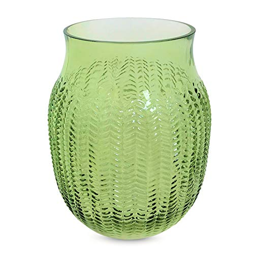Green Rustic Vases - WHW Whole House Worlds Farmer's Market Springtime Vase, Rustic Green, Forest Theme, Decorative Herringbone, Faceted Glass, 10 1/4 Inches Tall