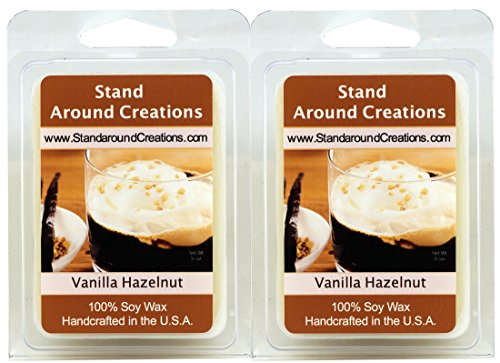 Set of 2 - 3 oz. each 100% All Natural Soy Wax Melt Tarts - Scent - Vanilla Hazelnut. A mouthwatering blend of toasted hazelnuts and creamy vanilla. Naturally Strong, Highly (Hazelnut Tart)