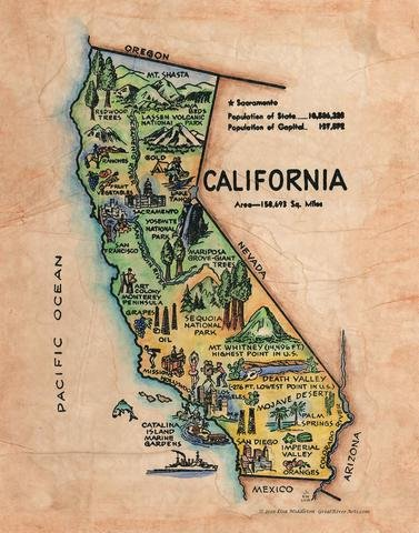 163 Illustrated map of California vintage historic antique map poster print