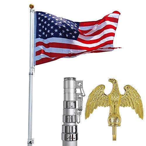 Yeshom 25 Feet Telescopic Aluminum Flag Pole Eagle for sale  Delivered anywhere in USA