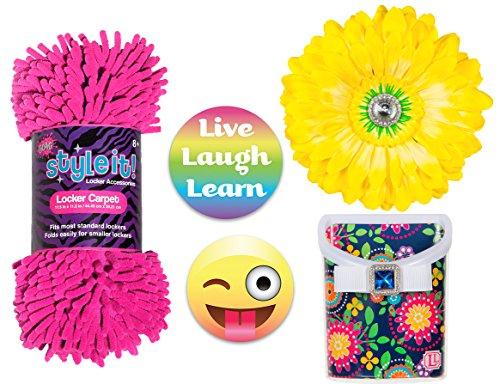 Locker Lookz Navy Flower Bin, 3C4G Fuchsia Rug, Yellow Flower Magnet, and 2017 Limited Edition PartyMoji Magnet Set