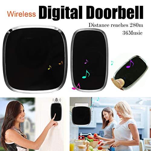 Waterproof Digital Door Bell Wireless No Battery Smart Home US Plug 36 Music Doorbell LED Wifi Door Chime + Remote Control by TOLOVI