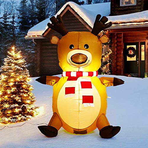 3.6 feet Inflatable Reindeer with Scarf Perfect for Blow Up Yard Decoration,Indoor Outdoor Yard Garden Xmas Decoration and Holiday Party Favor -