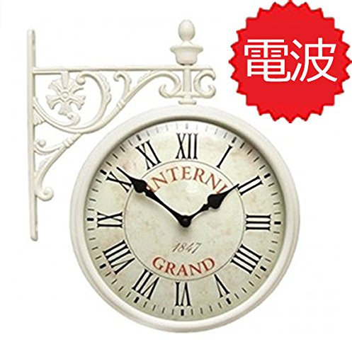 両面電波時計 両面時計 Interior Double Face Wall Clock おしゃれな インテリア 両面壁掛け時計 電波両面時計 M195 Iv-R B072SBK243