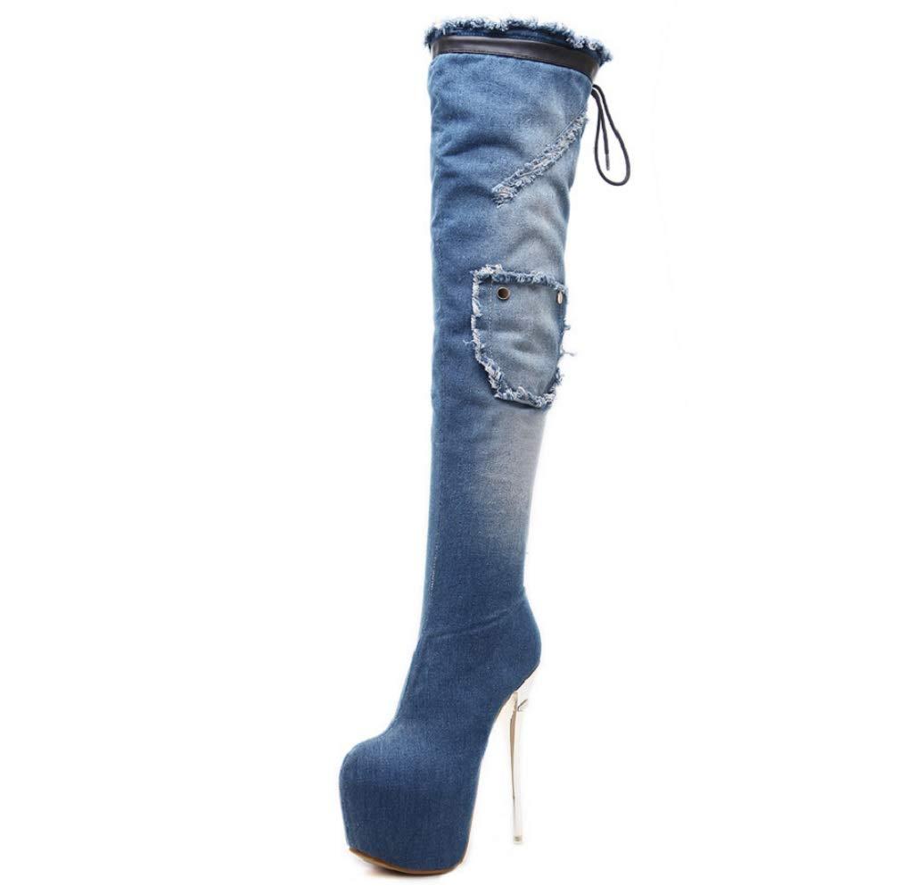 SHANGWU Frauen Super High Heel Strap Strap Strap Wasserdichte Plattform Sexy Overknee Stiefel 2018 Herbst Und Winter Denim Lange Stiefel Cowboystiefel 3565b1
