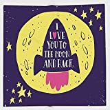 Cotton Microfiber Hand Towel,Love Decor,Rocket Goes to the Space I Love You to the Moon and Back Quote Stars Solar Cute Design,Yellow Indigo,for Kids, Teens, and Adults,One Side Printing