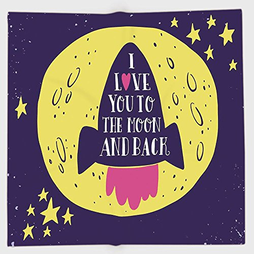 Cotton Microfiber Hand Towel,Love Decor,Rocket Goes to the Space I Love You to the Moon and Back Quote Stars Solar Cute Design,Yellow Indigo,for Kids, Teens, and Adults,One Side Printing by iPrint