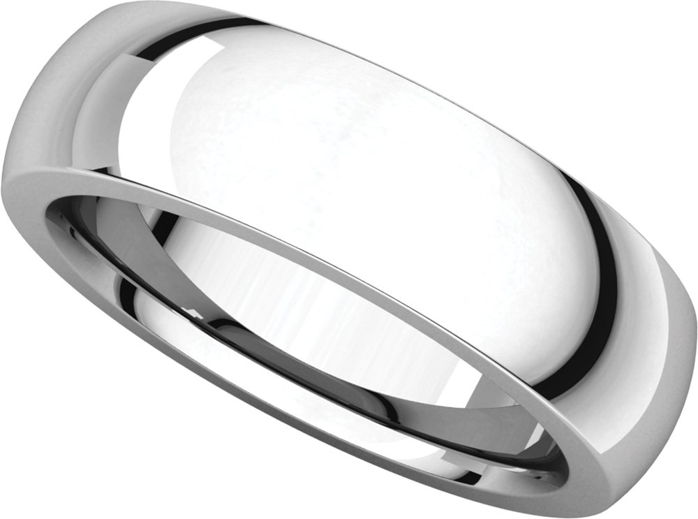 Mens 14K White Gold, Heavy Comfort Fit Wedding Band 6MM (sz 9)