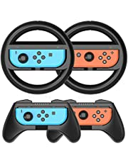 Grip Kit Joy-Con Grip Compatible with Nintendo Switch Controller Racing Switch Steering Wheel - 4 Pack, Comfort Handle for Kids Family Fun Special for Mario Kart 8 Deluxe (Black)