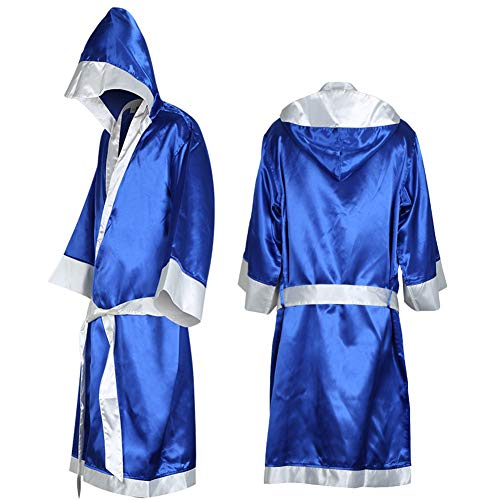 Heaven2017 Boxing Robe with Hood for Men MMA Boxing Match Muay Thai (Sapphire Blue L)