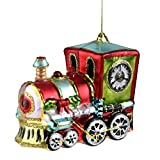 Just_Xmas 4-in Festive Holiday Glitter Train Glass Christmas Ornament Home Hanging Decor