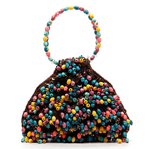Multi Beaded Bag Evening Handbag Brown Satin color Purse rI45wqr
