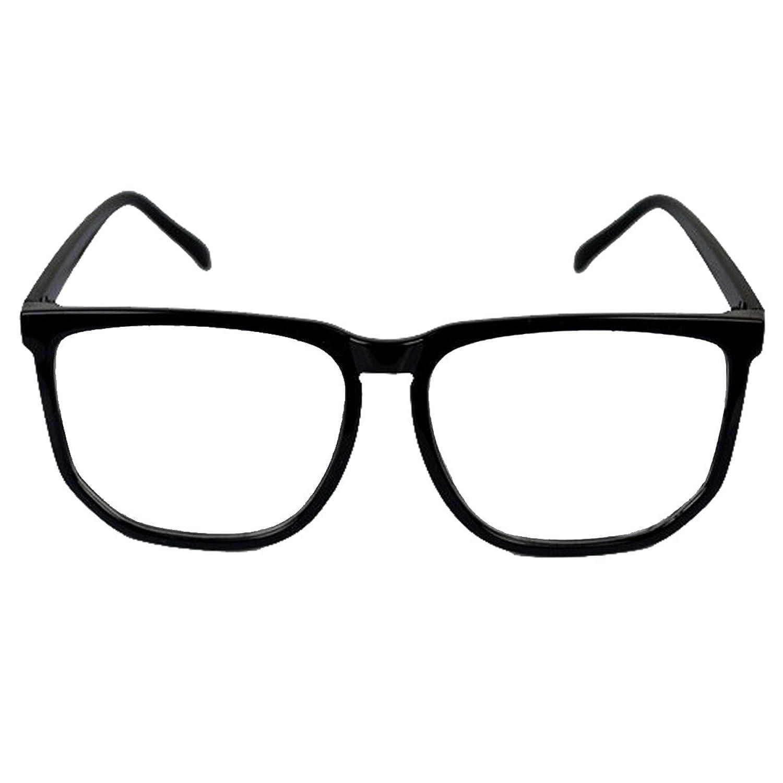 fc97887a083da Vintage Retro Style Oversized Matt Black Square Frame Nerd Geek Clear Lens  Glasses