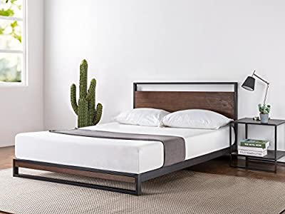 Zinus Ironline Metal and Wood Platform Bed with Headboard / Box Spring Optional / Wood Slat Support