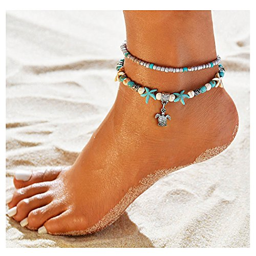 Suyi Girl Layered Anklets Turquoise Beads Sea Turtle Anklets Adjustable Starfish Beach Foot Chains Jewelry for Women