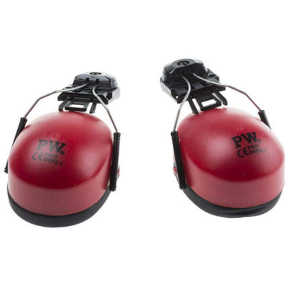 RS Pro Helmet Attachment Ear Defender SNR 26; 22dB; Red, Pack of 2 by rs-pro (Image #1)