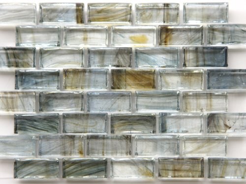 Mirabelle Collection Glass Tile blue-gray- Brown Brick - Recycled Tile