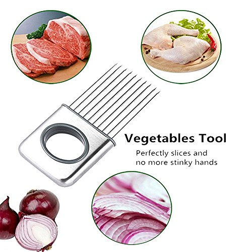 Gouptec Onion Tomato holder Slicer Meat Tenderizer Stainless Steel Kitchen Vegetable Tool Onion Peeler Gadgets Cooking Tool kitchen accessories