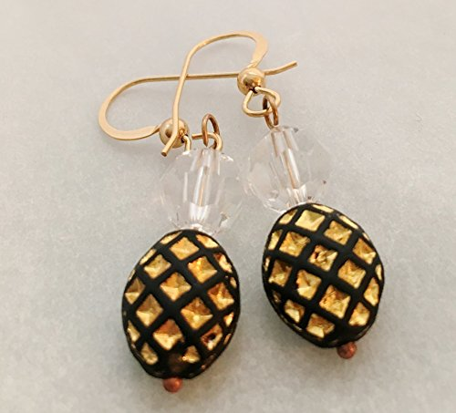 Crystal and Vintage Bead Black and Gold Tone Drop Earring (French Earwires Handcrafted Artisan Jewelry)
