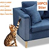 10 Pcs Furniture Protectors from Cats - Clear Self-Adhesive Cat Scratch Deterrent - Couch Protector 4 Pack X-Large (18