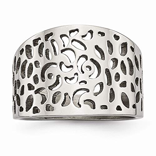 (Roy Rose Jewelry Chisel Collection Stainless Steel Polished Cut-Out Design Ring Size 9)