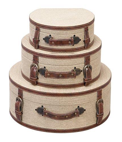 Deco 79 Wood Burlap Box, Set of 3