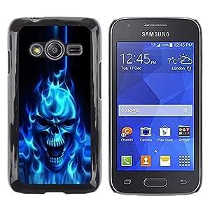 TopCaseStore / la caja del caucho duro de la cubierta de protección de la piel - Flaming Blue Goth Skull Skeleton - Samsung Galaxy Ace 4 G313 SM-G313F