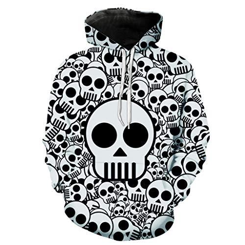 KLFGJ Women Long Sleeve Hoodie Sweatshirt for Halloween Witch Print Blouse Plus Size Tops White