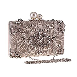 Women's Diamond Beaded Clutch Bag