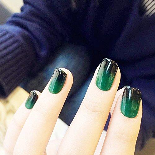 yunail 24schwarz & grün Farbverlauf Kurz Nail Art falsche Nägel Acryl Rund Head Full