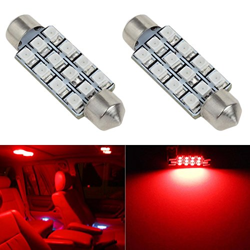 Partsam 2Pcs 42mm 211-2 212-2 578 LED Bright 12-3528 Chipsets 1.65 inches Interior Map Dome Lights Red