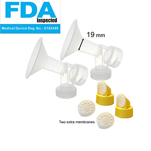 Maymom Brand 19 mm 2xOne-Piece Small Breastshield w/ Valve and Membrane for Medela Breast Pumps; Extra Small Shield