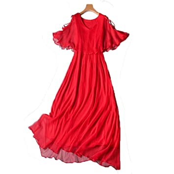 a3b2223f54 Party Dresses Women Solid Silk Bohemian Beach Dress Sundress V Neck Boho  Flowy Swing Long Maxi