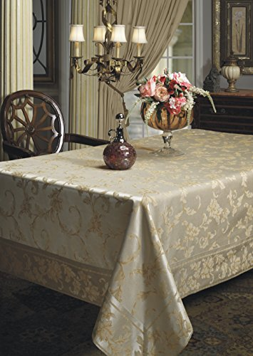 """Benson Mills Harmony Scroll Tablecloth (60"""" X 120"""" Rectangular, Silver - Gold) - Fabric Content: 58% Cotton, 42% Polyester Features a hand assembled Mitered Border. Available with Matching Napkins Cotton Rich, Heavy Weight Fabric(Very easy to clean; Machine wash in warm water with like colors; Use non-chlorine bleach when needed; Tumble dry low.) - tablecloths, kitchen-dining-room-table-linens, kitchen-dining-room - 51PCS631rqL -"""