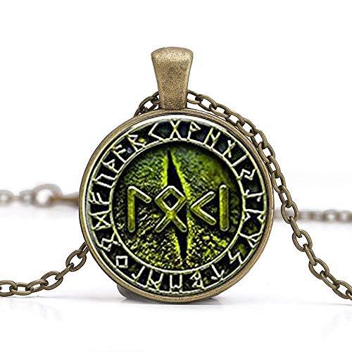 Snake Eye Loki Petite Written in Rune Jewelry, Glass Cabochon Necklace]()