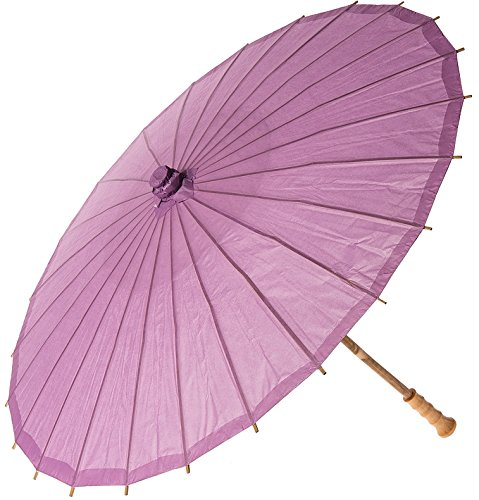 Luna Bazaar Paper Parasol (20-Inch, Lilac Purple) - Chinese/Japanese Paper Umbrella - For Children, Decorative Use, and DIY Projects