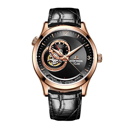 Reef Tiger Luxury Casual Watches for Men Rose Gold Tone Designer Automatic Watches RGA1693