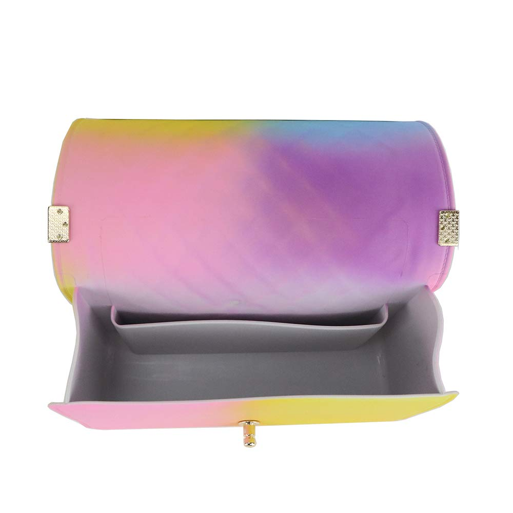 Jellyooy Beachkins Ins Chic Girl Crossbody Bag PVC Classic Plaid Matte Colorful Jelly Chain Bags
