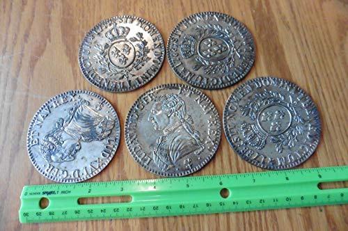 (5 Coasters Replica 1788 Louis XVI Coins Silverplate vintage France 1788 marking )